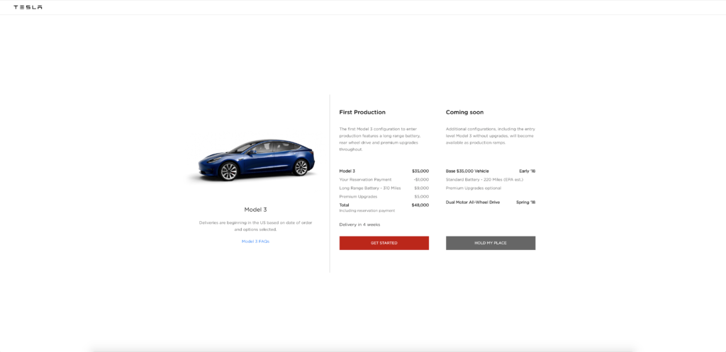 Tesla ouvre le configurateur du Model 3 au grand public
