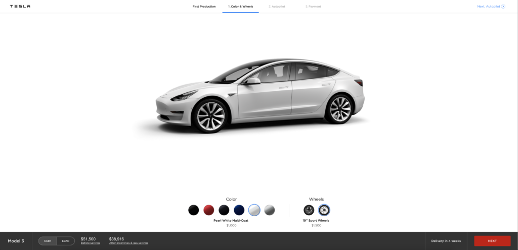 tesla ouvre le configurateur du model 3 au grand public. Black Bedroom Furniture Sets. Home Design Ideas