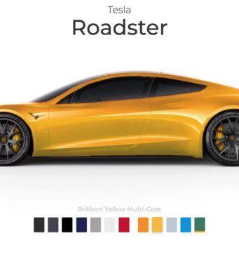tesla roadster application personnalisation couleurs