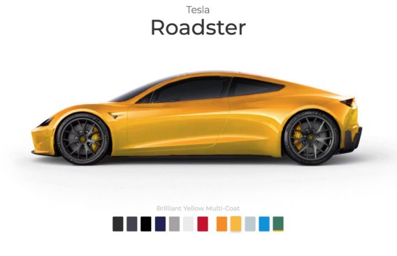 tesla roadster application personnalisation couleurs