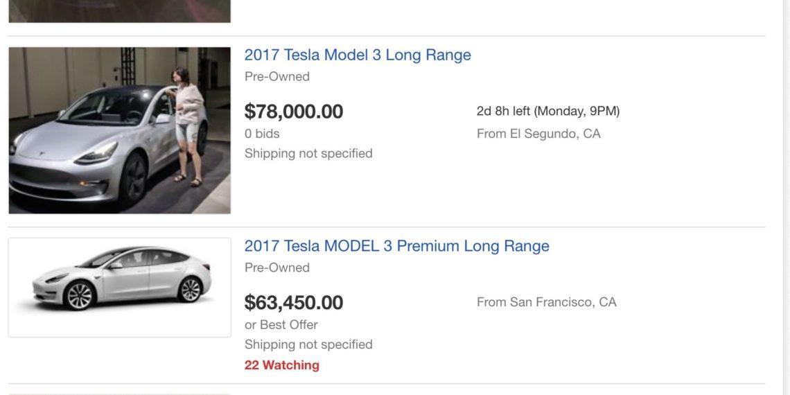 Tesla Model 3 d'occasion sur ebay