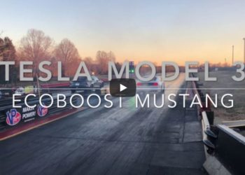 duel tesla model s ford mustang ecoboost