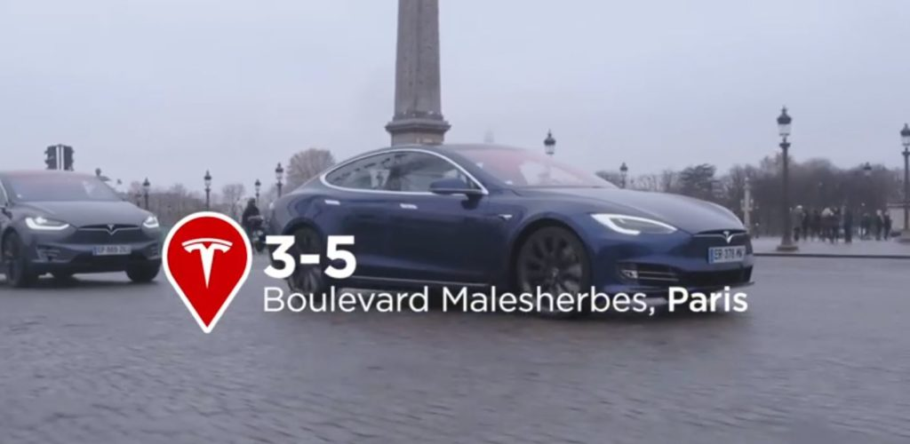 Le showroom Tesla Paris, boulevard Malesherbes